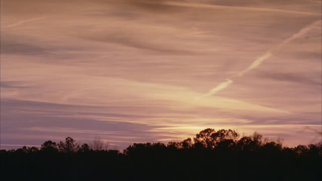 WS Sun sets behind wooded area in the country / Newnan, Georgia, United States