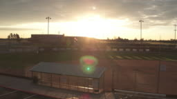 Sun Sets over a Baseball Field
