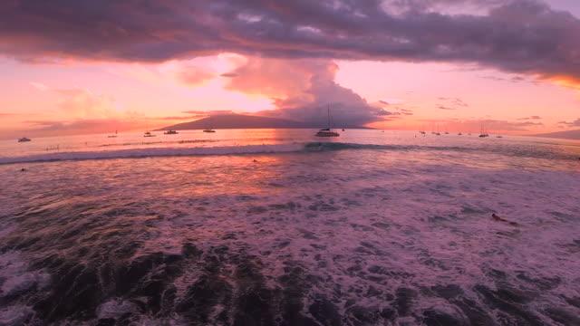 sun sets with surfers catching waves in maui, hi - 白しっくい塗点の映像素材/bロール