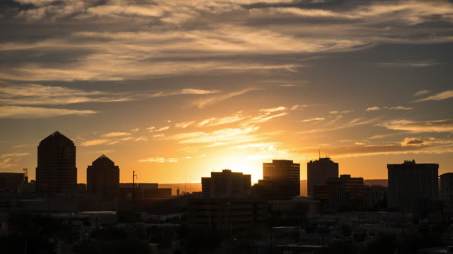 Sun Setting Behind Downtown Albuquerque - Time Lapse