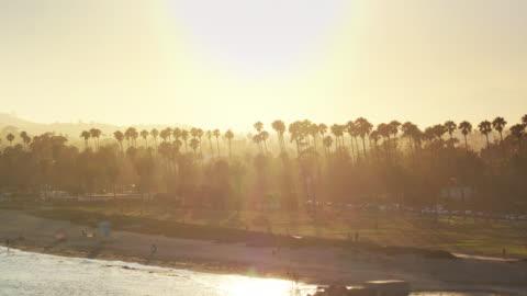 sun setting behind palm trees in santa barbara, california - aerial shot - santa barbara california stock videos & royalty-free footage
