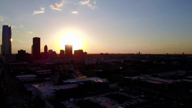 Sun setting on Oklahoma City