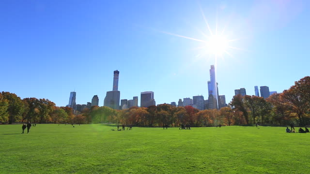 PAN Sun shines from above the Manhattan skyscrapers and autumnal trees at Sheep Meadow at Central Park.