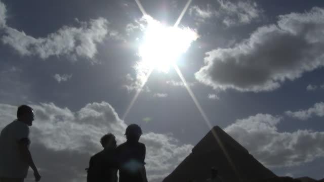 MS, LA, Sun shining above Pyramid of Khafre, Giza, Egypt