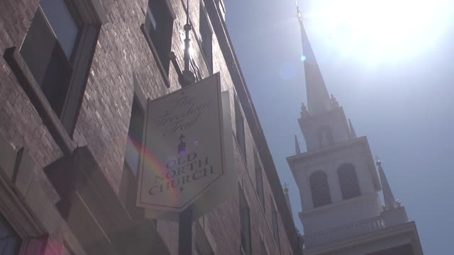 sun shining on old north church in boston. - old north church stock videos & royalty-free footage