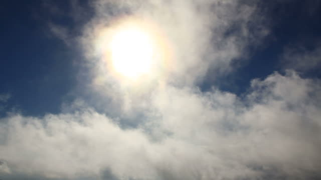 sun shining through clouds and appearing behind clouds