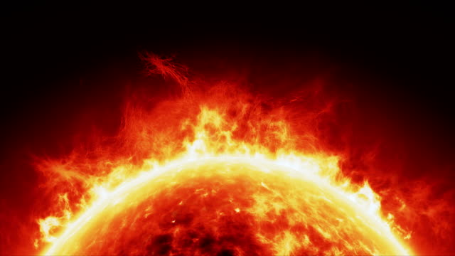 sun surface/solar atmosphere horizontal loop - solar flare stock videos & royalty-free footage