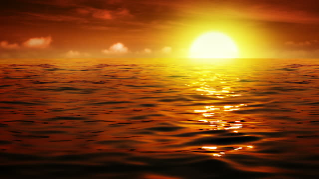 Sun touch down and sea