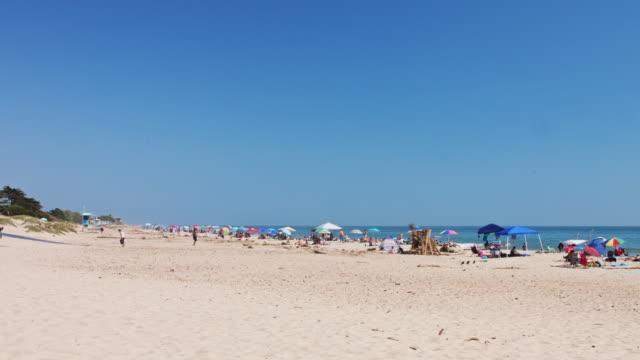 vídeos y material grabado en eventos de stock de sunbathers and swimmers on carpinteria state beach - horizonte