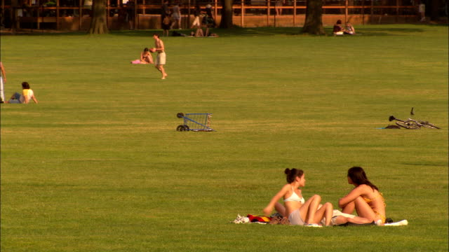 sunbathers relax on a central park lawn as others walk or play catch. - 日光浴点の映像素材/bロール