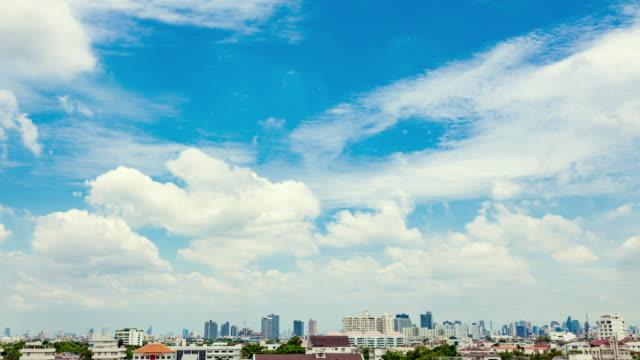 sunbeam in bangkok city : time-lapse clouds sky scape - movimento rapido video stock e b–roll