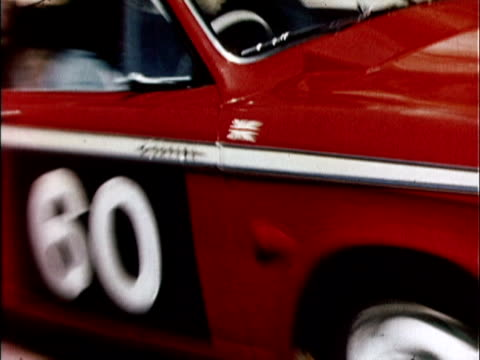 1959 ws pan 1959 sunbeam rapier rally car on mountain race track / usa - 1959 stock videos & royalty-free footage