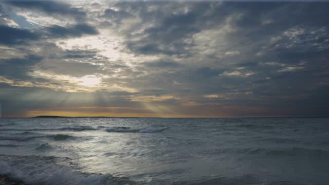 sunbeams over great lake - lake michigan stock videos & royalty-free footage