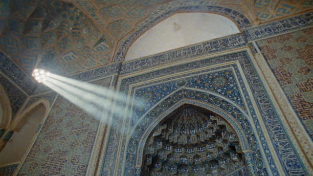 ws la pan sunbeams shining through windows in middle eastern mosque / iran - mosque stock videos & royalty-free footage