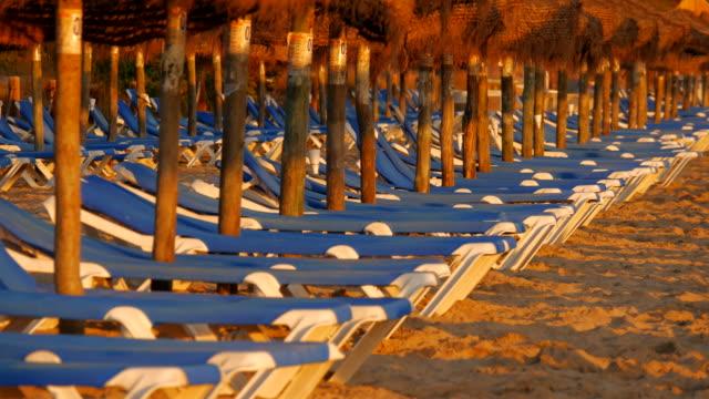 sunbeds at the beach, playa muro, port d'alcudia, majorca, balearic islands, spain - sun lounger stock videos & royalty-free footage