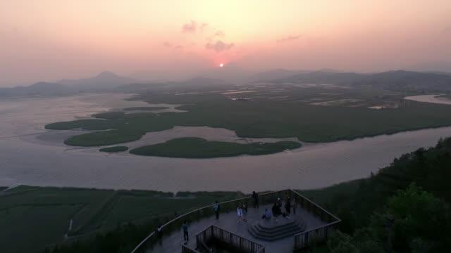 suncheon bay wetland reserve sunset scenery  / suncheon, jeollanam-do, south korea - jeollanam do stock videos & royalty-free footage