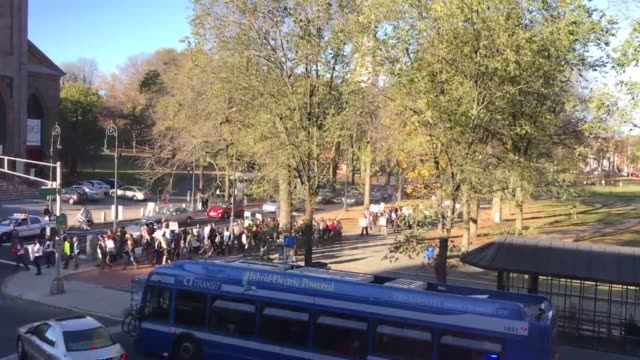 sunday afternoon anti trump rally in the streets of new haven, connecticut. - ニューヘイブン点の映像素材/bロール