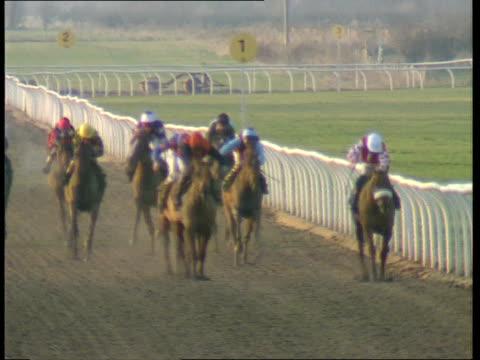 sunday racing england nottingham southwell racecourse lams jockeys on horses walking around stalls lacms jockey seen in stalls gv starter giving... - イングランド点の映像素材/bロール