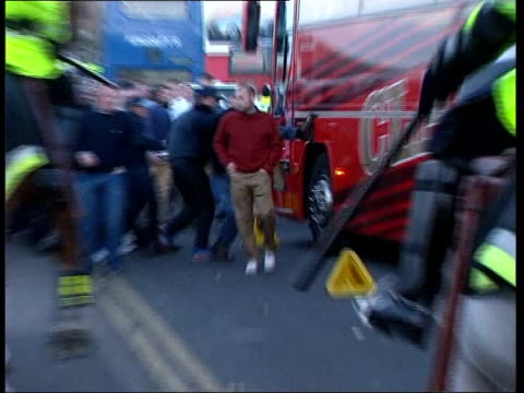violence lib sunderland mounted police holding back football hooligans outside stadium at euro 2004 qualifying match with turkey riot police dealing... - hooligan stock videos & royalty-free footage