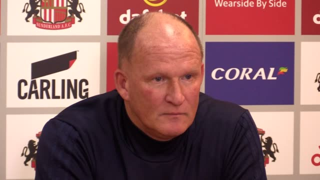 Sunderland manager Simon Grayson speaking at his prematch press conference ahead of Tuesday night's Sky Bet Championship fixture against Bolton