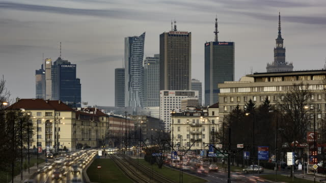 sundown over warsaw - warsaw stock videos and b-roll footage