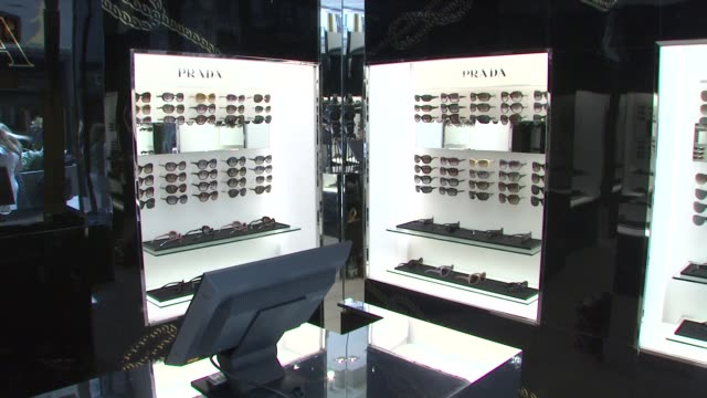 sunglass hut at the prada and sunglass hut open the first temporary eyewear concept store at new york ny. - store opening stock videos & royalty-free footage