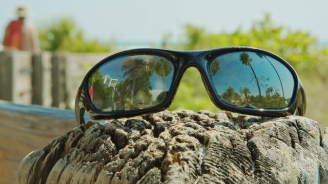 Sunglasses in foreground reflection of palm trees Summer