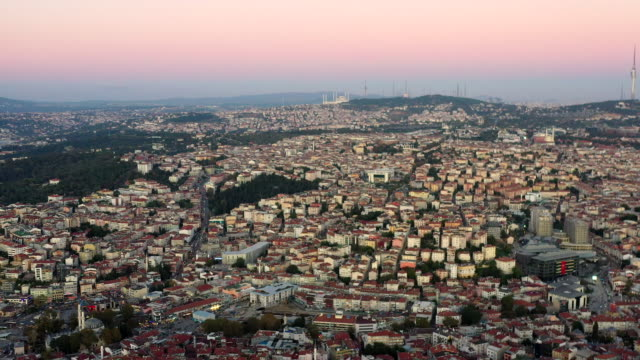 sunlight aerial high angle view  cityscape above istanbul city - bridge built structure stock videos & royalty-free footage
