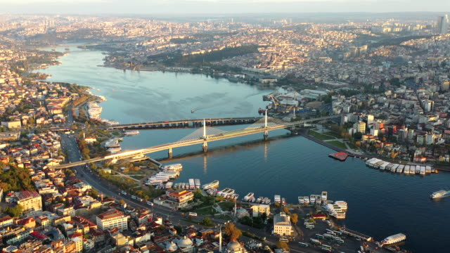 sunlight aerial view bridge - built structure cross istanbul city - istanbul province stock videos & royalty-free footage