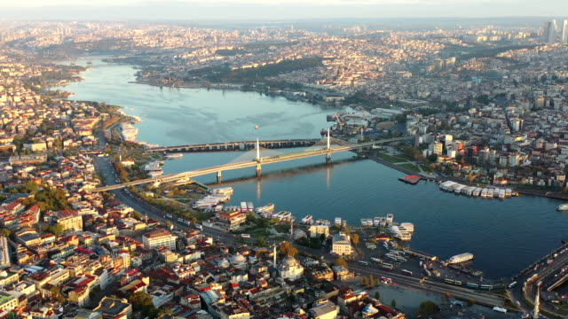 sunlight aerial view cityscape above istanbul city - istanbul province stock videos & royalty-free footage