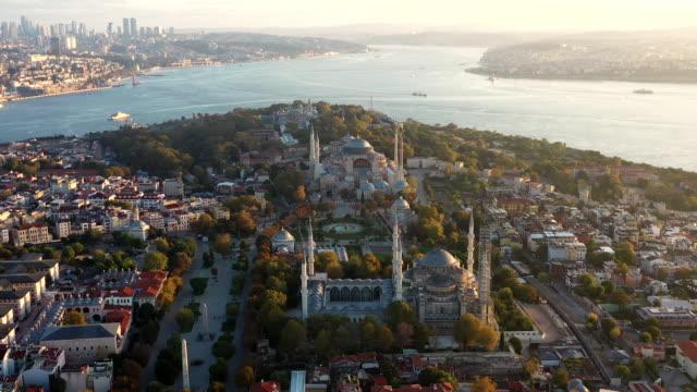 sunlight aerial view panoramic istanbul city - bosphorus stock videos & royalty-free footage