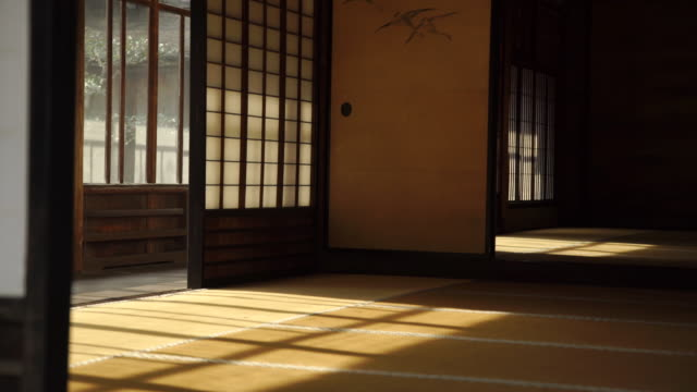 sunlight and shadows in tradional home with wood floor - japan - giapponese video stock e b–roll