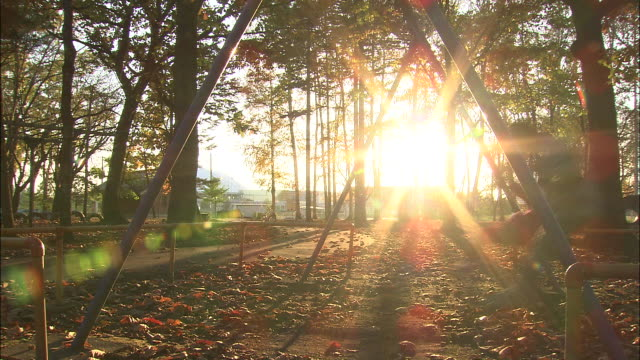 sunlight bursts through silhouettes of children playing on swings - altalena video stock e b–roll