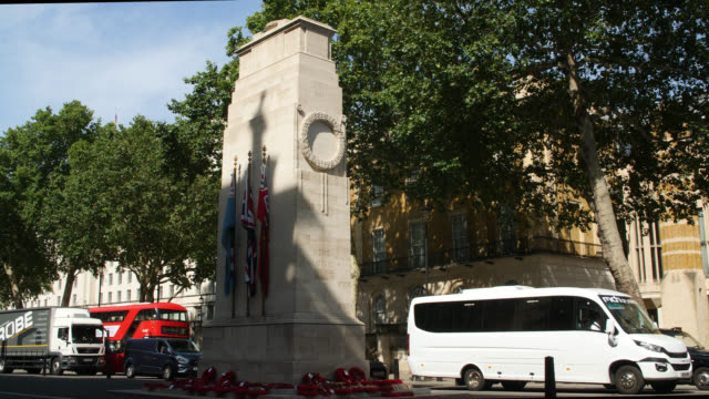ws sunlight cast across the cenotaph, london - war memorial stock videos & royalty-free footage