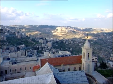 Sunlight illuminates an edge of Bethlehem beyond the Church of the Nativity.