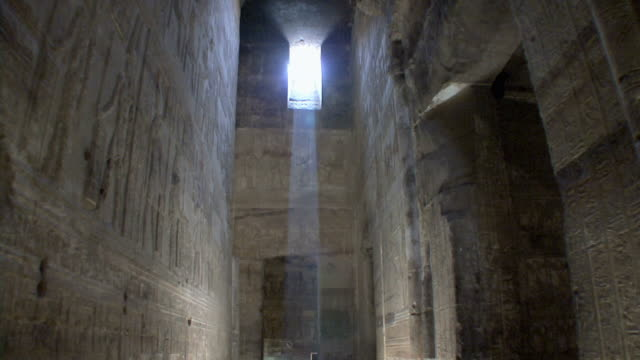 ws td sunlight inside crypt in temple of dendera, qena, egypt - crypt stock videos & royalty-free footage