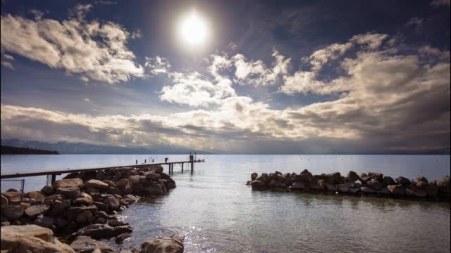 sunlight on lake tahoe - time lapse - nevada stock videos & royalty-free footage