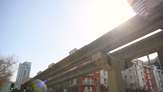 sunlight travel - elevated train stock videos & royalty-free footage