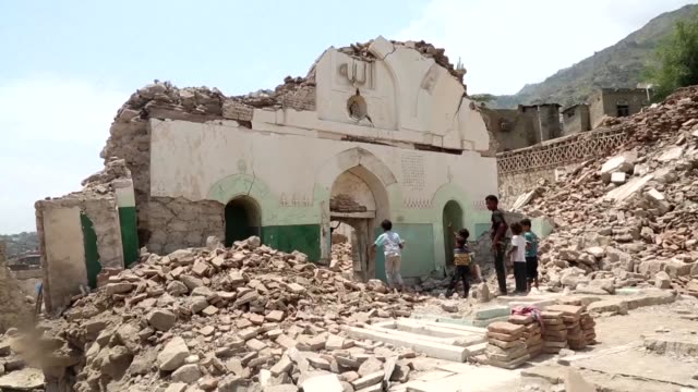 sunni islamist radicals in yemen have blown up a 16th century mosque housing the shrine of a revered sufi scholar in the city of taez a local... - yemen stock videos & royalty-free footage