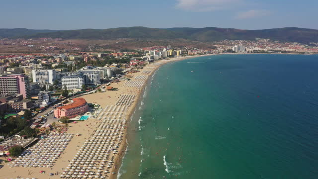 sunny beach on the bulgarian black sea coast - bulgaria stock videos & royalty-free footage