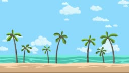 Sunny beach with palms and cloudy skyscape. Animated background. Flat animation.