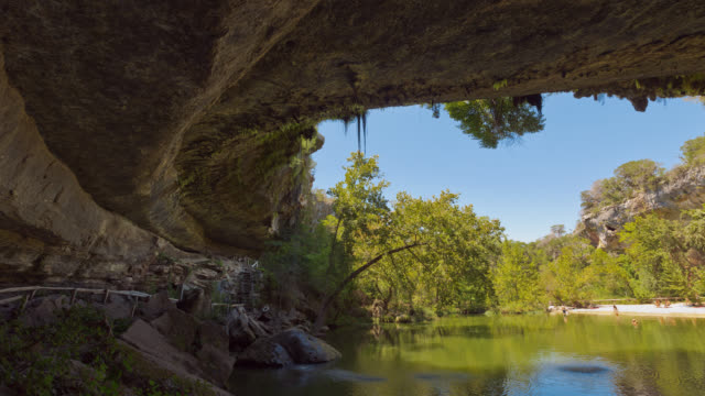 T/L Sunny day at Hamilton Pool Preserve near Austin, Texas, USA / Dripping Springs, Texas, USA