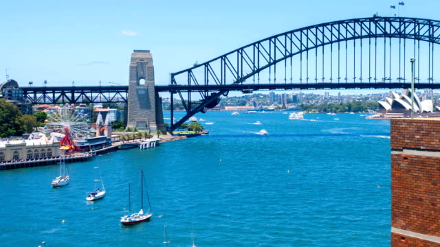 Sunny day at Sydney Harbor Bridge. Time lapse.