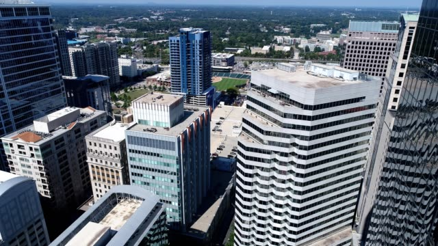 sunny day in uptown charlotte - charlotte north carolina stock videos & royalty-free footage