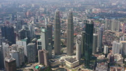 sunny day kuala lumpur famous downtown cityscape aerial panorama 4k malaysia