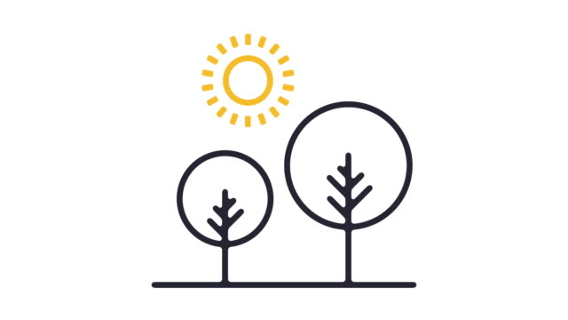 sunny day line icon animation - outline stock videos & royalty-free footage