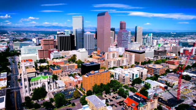 sunny days above congested city of denver colorado - denver stock videos & royalty-free footage