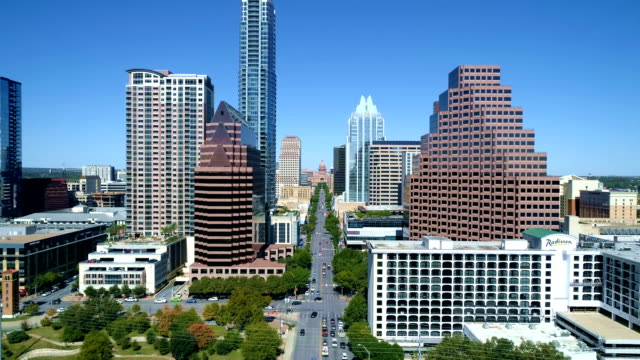 Sunny Days in Austin Texas aerial view down South Congress to the Capital building