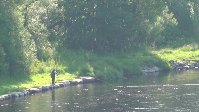 sunny gvs of scottish borders and man fishing on river during heatwave - recreational pursuit stock videos & royalty-free footage