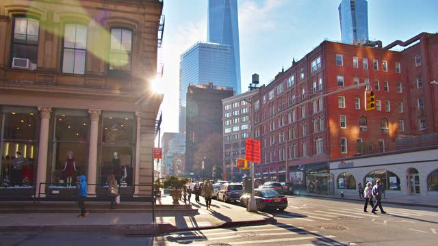 stockvideo's en b-roll-footage met sunny manhattan financial district. wtc. bank - sunny